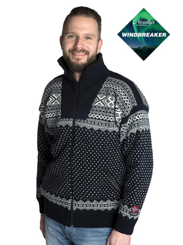 Nordlys «Setesdal» marine strikket jakke med glidelås for dame og herre, vindtett