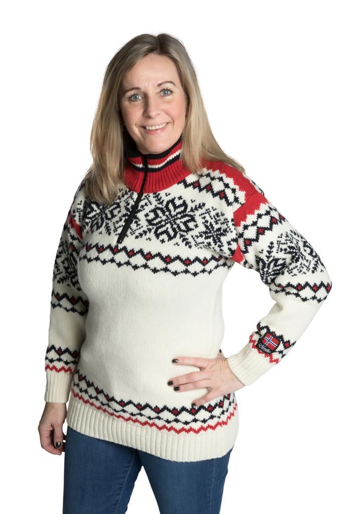 """Nordlys """"Turist"""" hvit og rød strikket genser for dame og herre."""