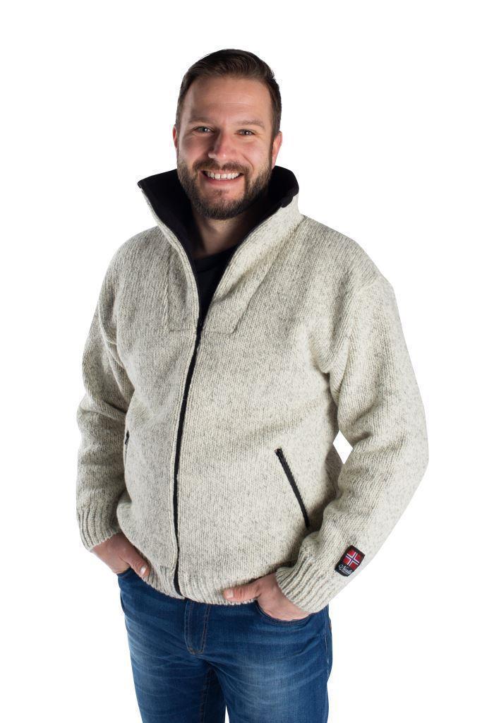 """Nordlys """"Lofoten"""" grå melert strikket jakke med glidelås for dame og herre, vindtett."""