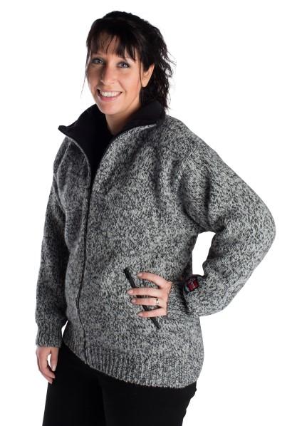 """Nordlys """"Lofoten"""" grå strikket jakke med glidelås for dame og herre, vindtett."""