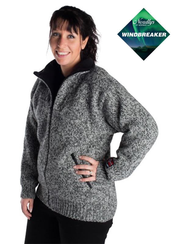 Nordlys «Lofoten» grå strikket jakke med glidelås for dame og herre, vindtett.