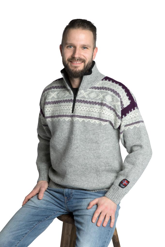 """Nordlys """"Elegant"""" grå strikket genser med glidelås for dame og herre."""