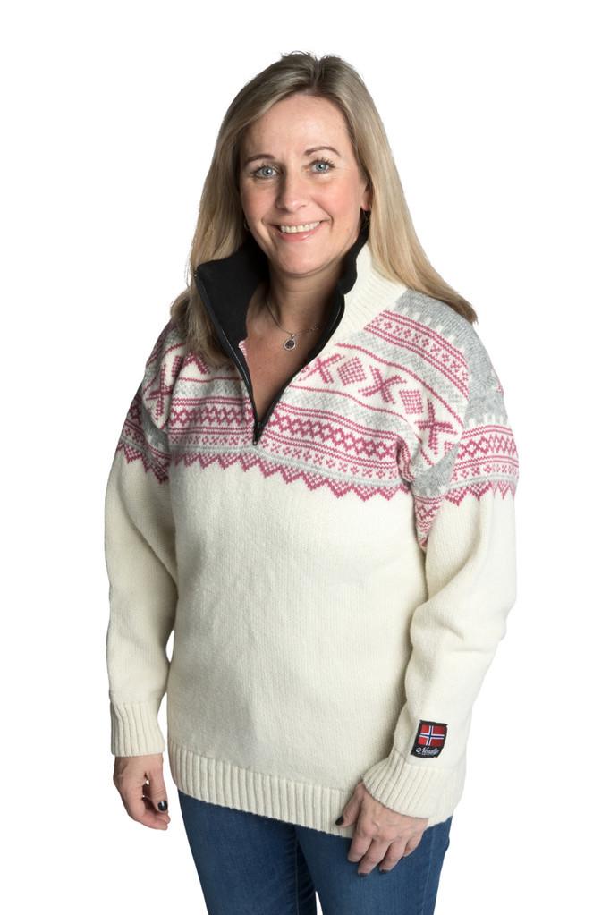 """Nordlys """"Elegant"""" hvit og rosa strikket genser med glidelås for dame og herre."""