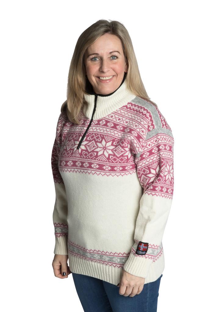 """Nordlys """"Mønstret"""" hvit og rosa strikket genser for dame og herre."""