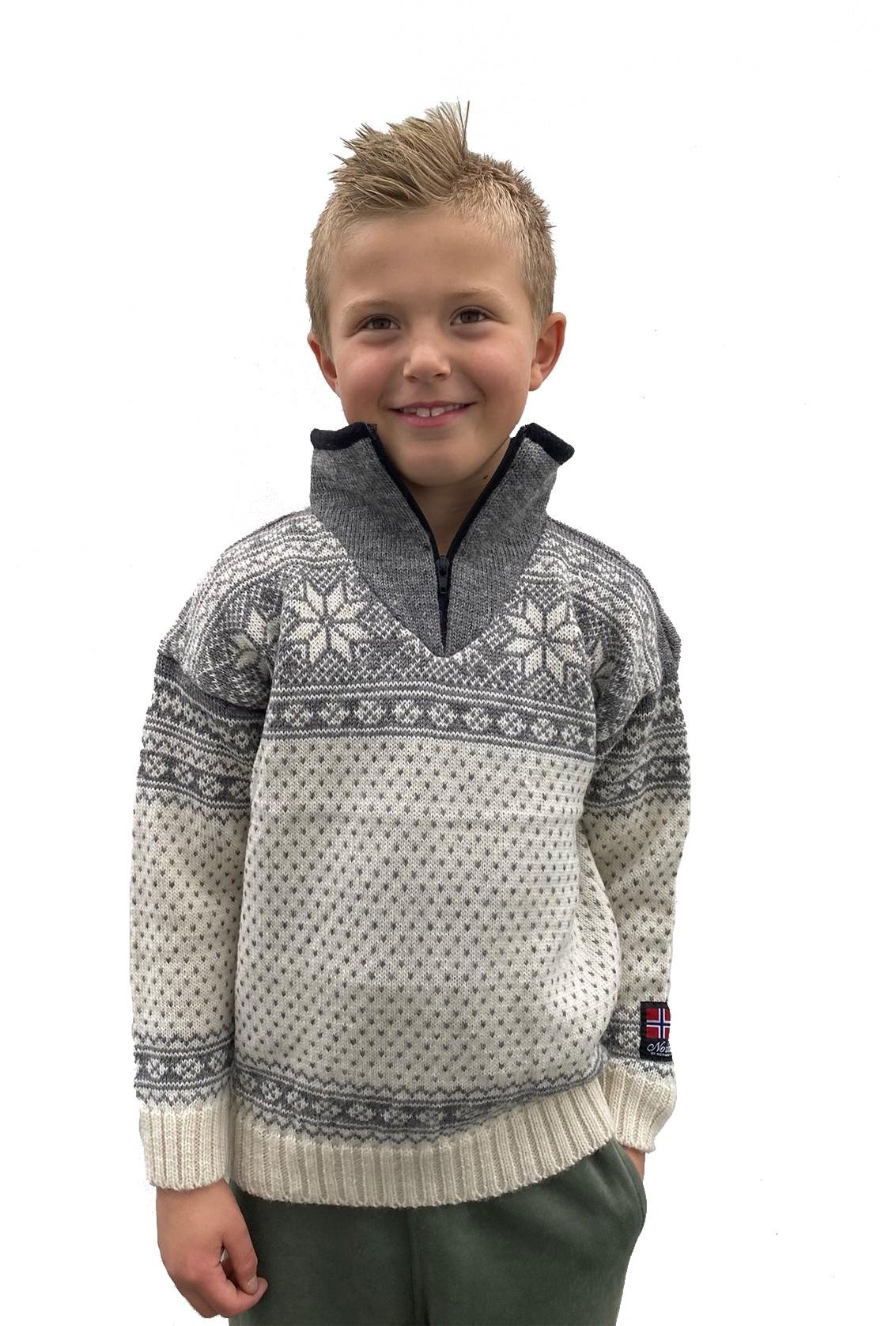 """Nordlys """"Mønstret"""" strikket genser barn, hvit og grå, 2 til 12 år."""