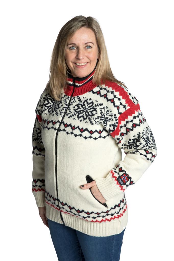 "Nordlys ""Turist"" hvit rød og marine strikket jakke med glidelås for dame og herre, vindtett."