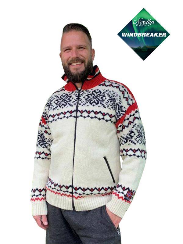 Nordlys «Turist» hvit rød og marine strikket jakke med glidelås, vindtett. Utgående farge.