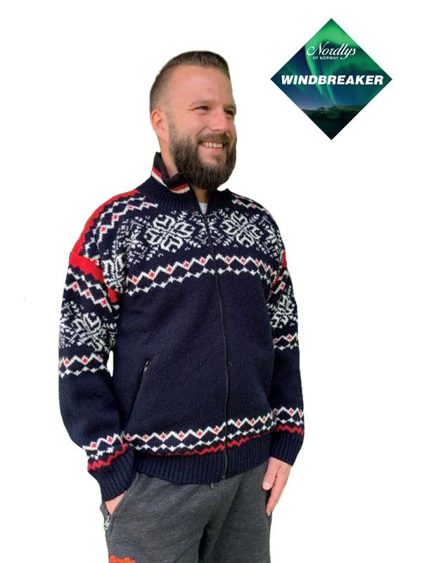 Nordlys «Turist» marine rød og hvit strikket jakke med glidelås, vindtett. Utgående farge.
