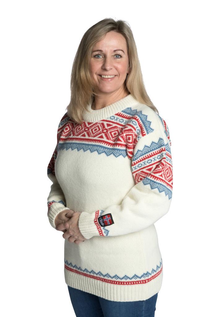 """Nordlys """"Bygland"""" hvit og rød strikket genser for dame og herre."""