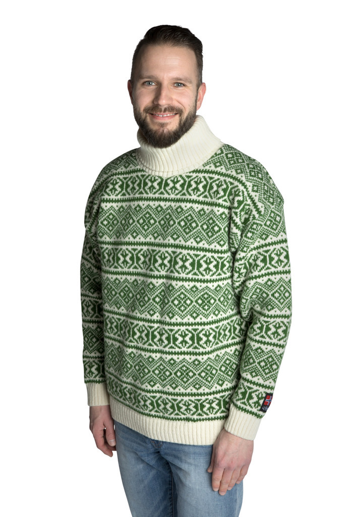 """Nordlys """"Polar"""" grønn og hvit strikket genser for dame og herre, med høy hals."""