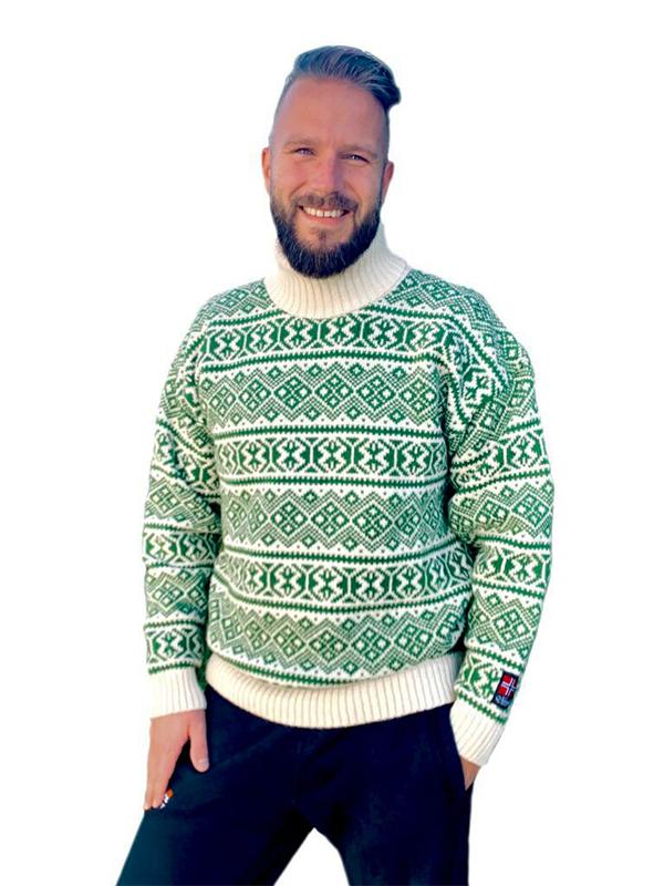 Nordlys «Polar» grønn og hvit strikket genser for dame og herre, med høy hals.