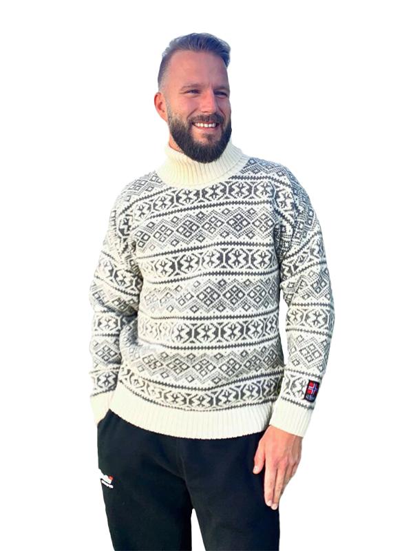 Nordlys «Polar» grå og hvit strikket genser for dame og herre, med høy hals.