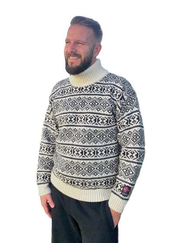 Nordlys «Polar» sort og hvit strikket genser for dame og herre, men høy hals.