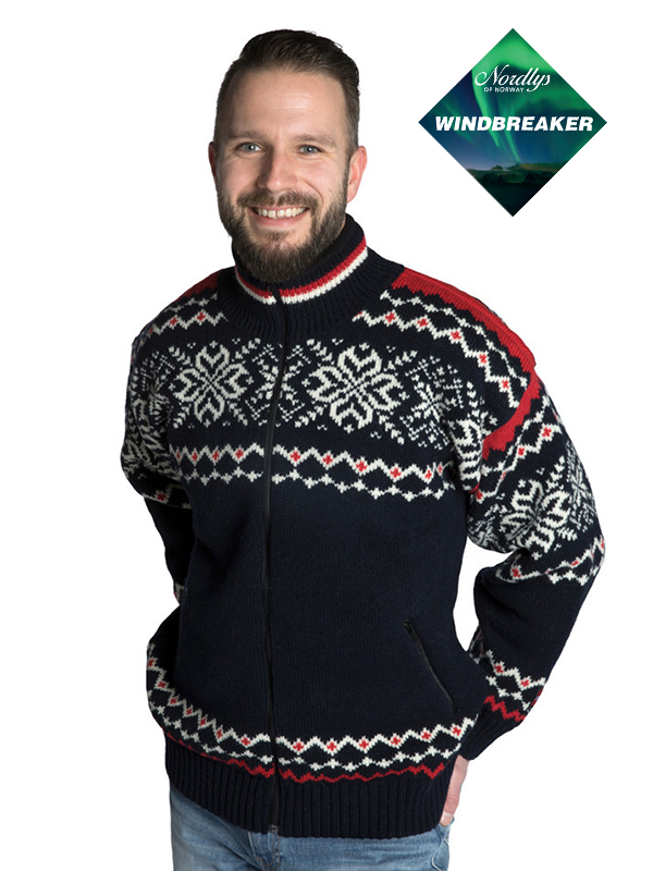 Nordlys «Turist» marine rød og hvit strikket jakke med glidelås for dame og herre, vindtett.