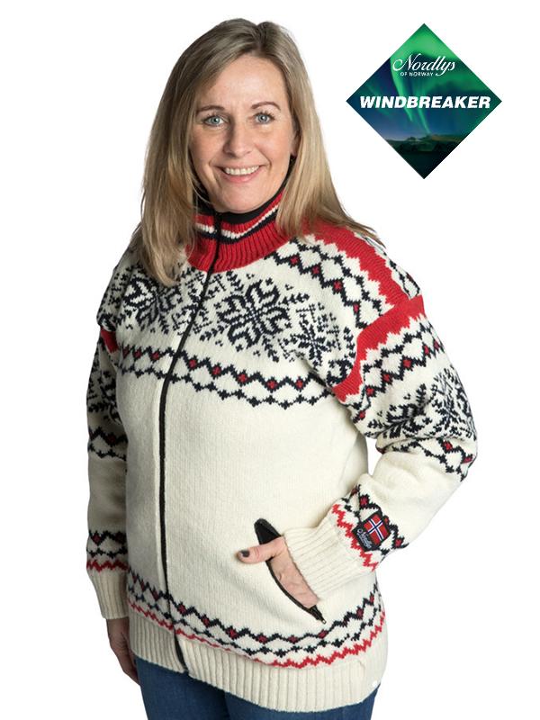 Nordlys «Turist» hvit rød og marine strikket jakke med glidelås for dame og herre, vindtett.