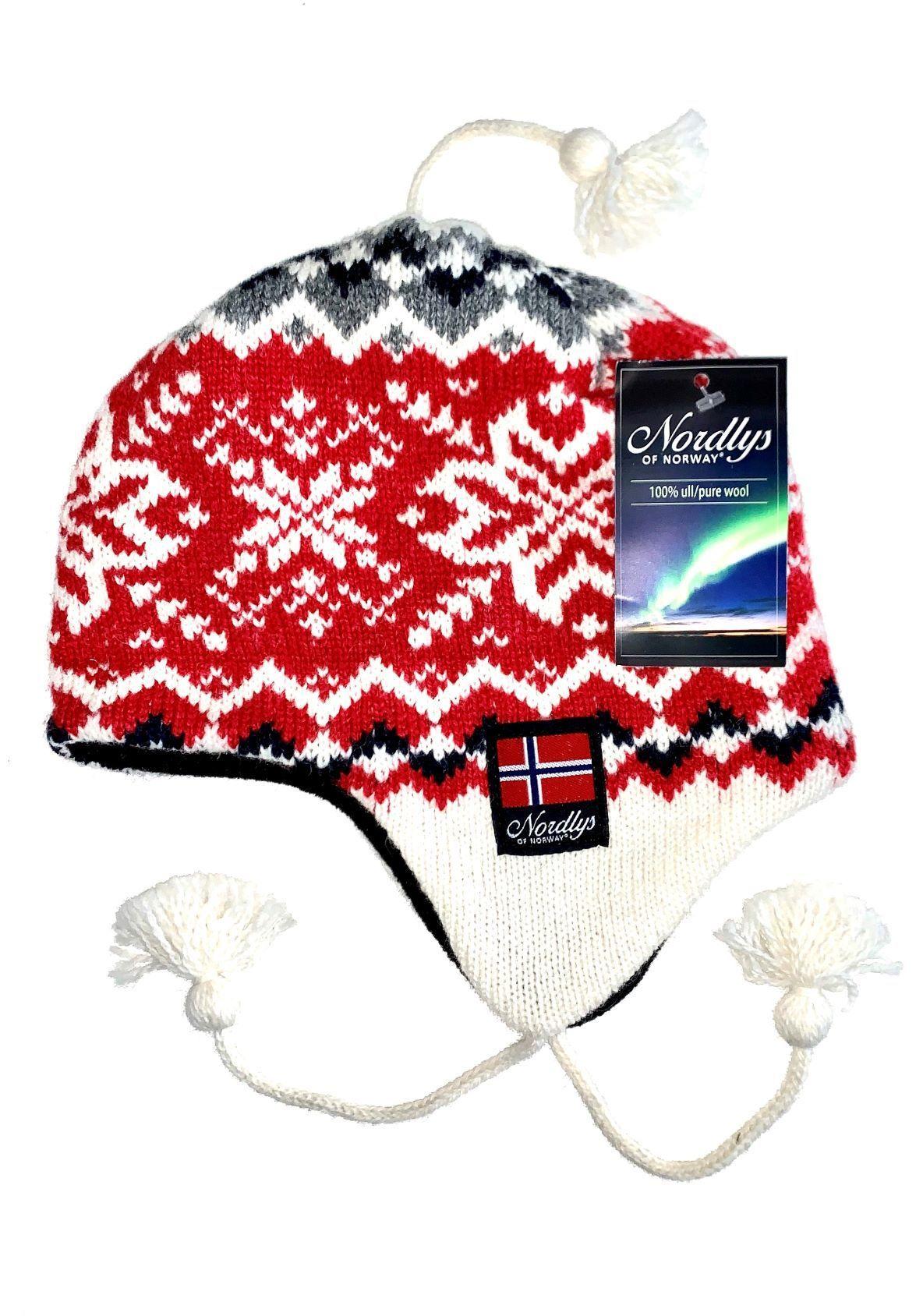 """Nordlys """"Turist"""" strikket ull lue med snor, rød og hvit."""