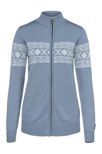"""""""Idunn"""" lyse blå strikket jakke dame i merinoull."""