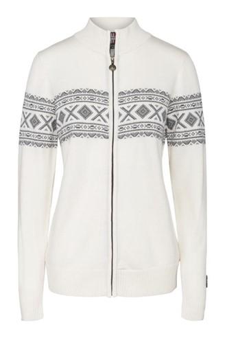 """""""Idunn"""" hvit strikket jakke dame i merinoull."""