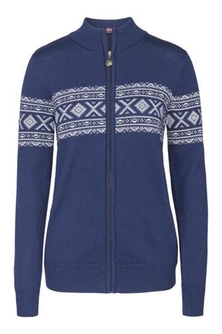 """""""Idunn"""" blå strikket jakke dame i merinoull."""