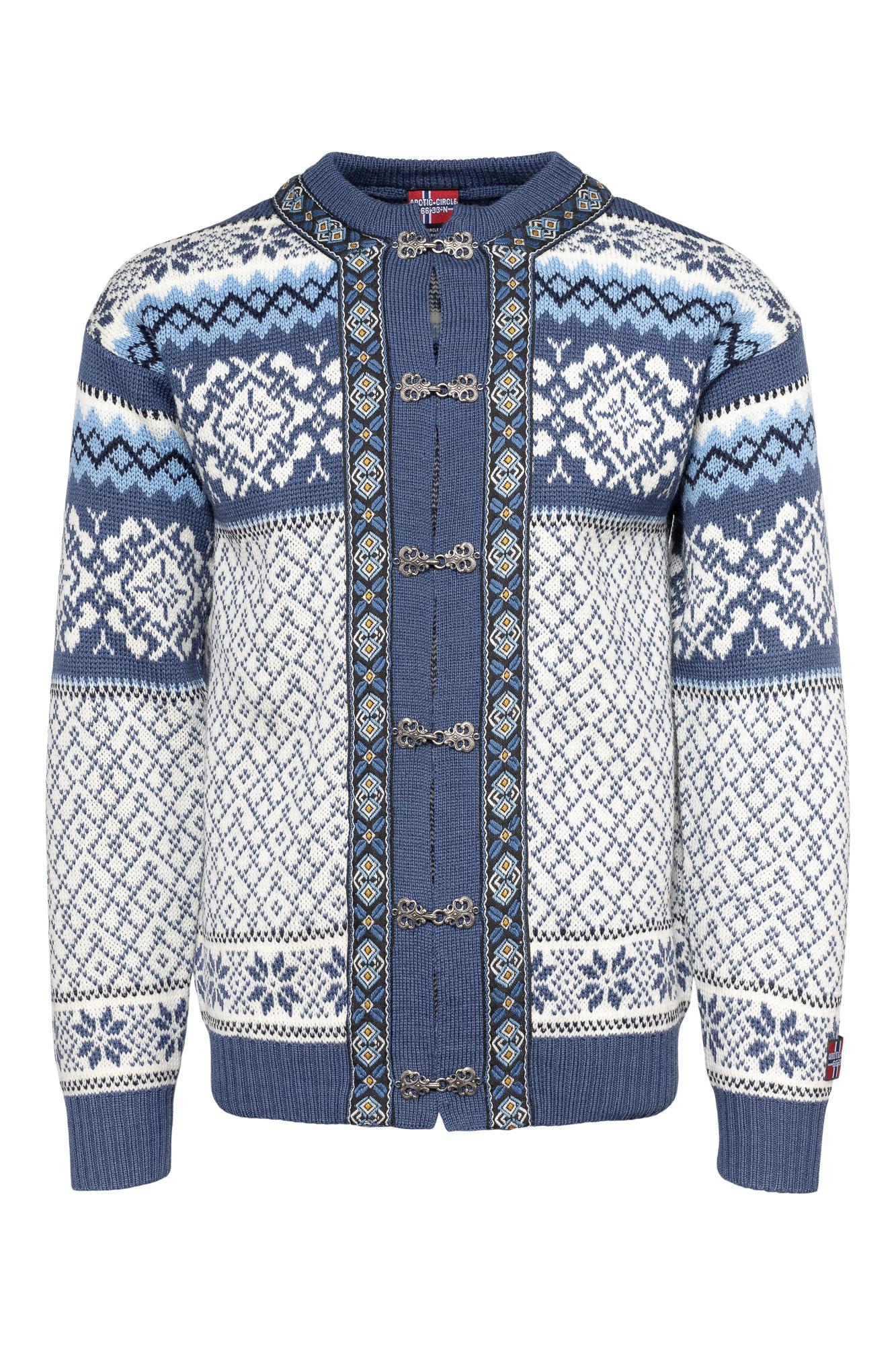 Hvit og blå strikket kofte til dame og herre.