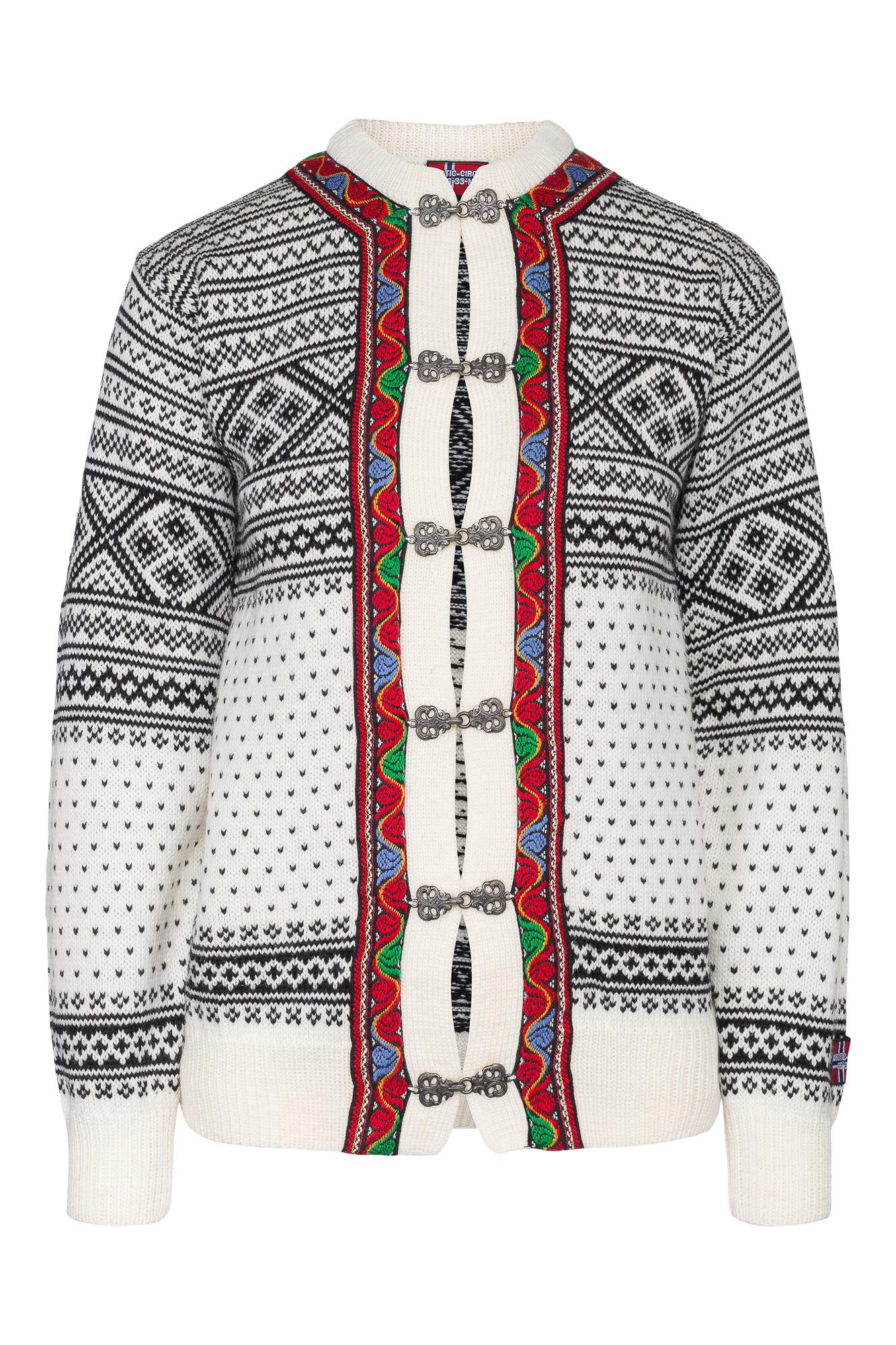 """Hvit """"Setesdal"""" strikket kofte til dame og herre."""