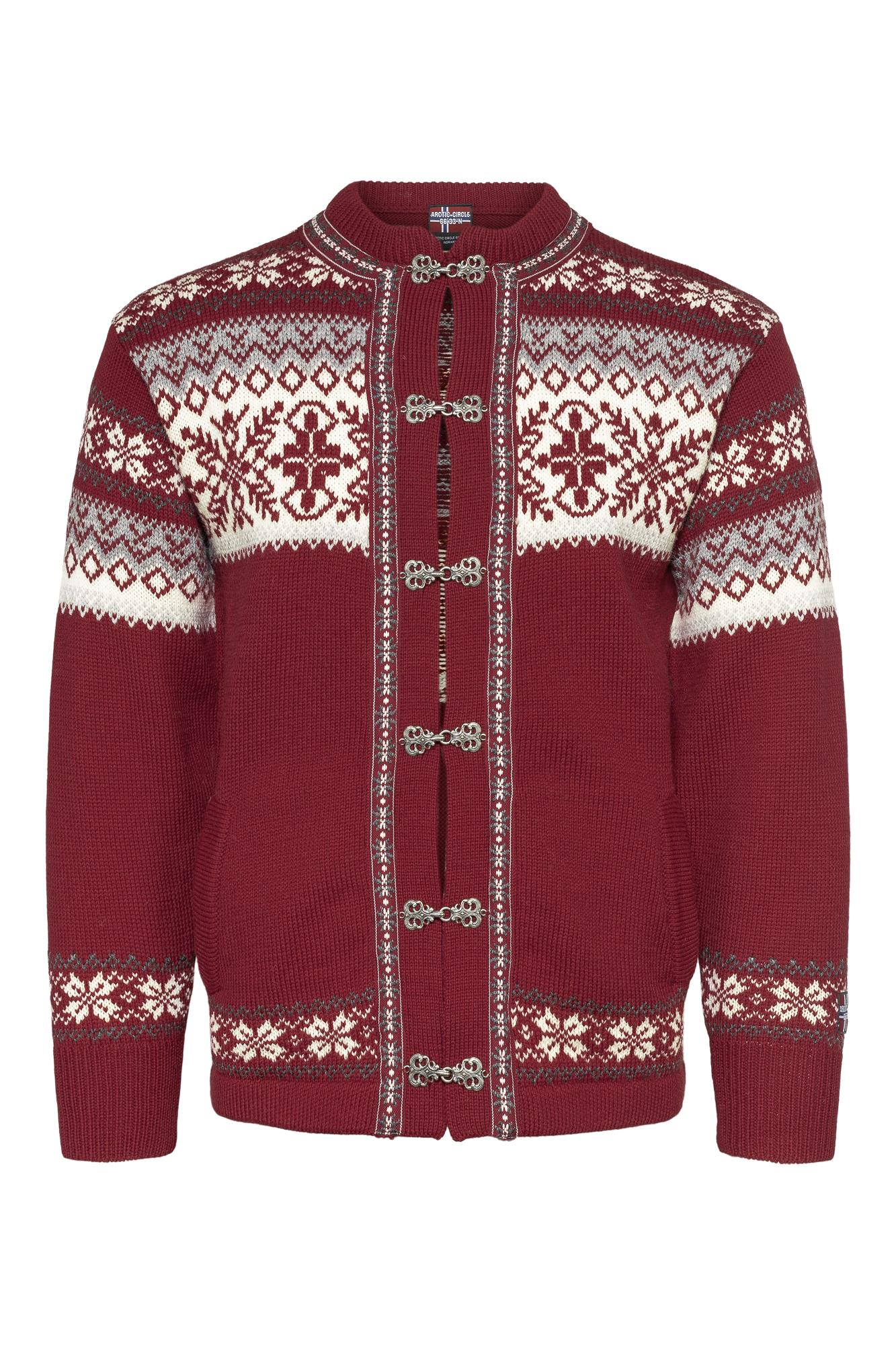 Rød strikket kofte til dame og herre.