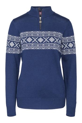 """""""Nanna"""" strikket genser dame blå."""