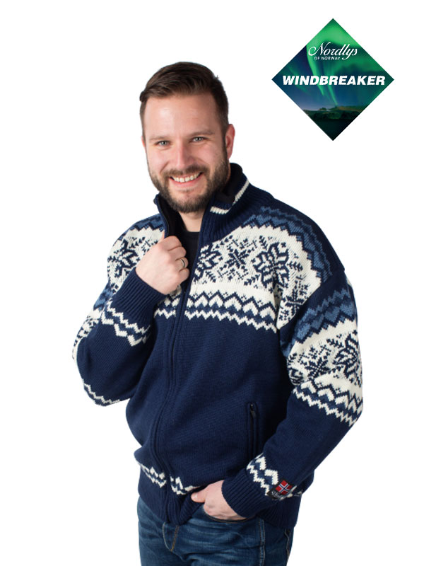Nordlys «Turist» vindtett strikket jakke med glidelås for dame og herre. Strikket i kamgarn.